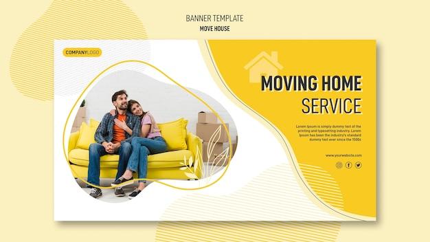 Plantilla de banner horizontal para servicios de reubicación de casas