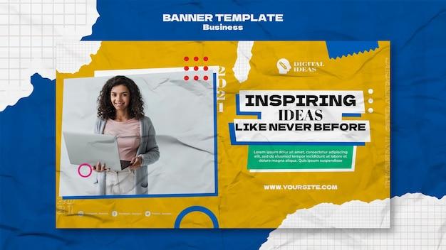Plantilla de banner horizontal para soluciones empresariales creativas