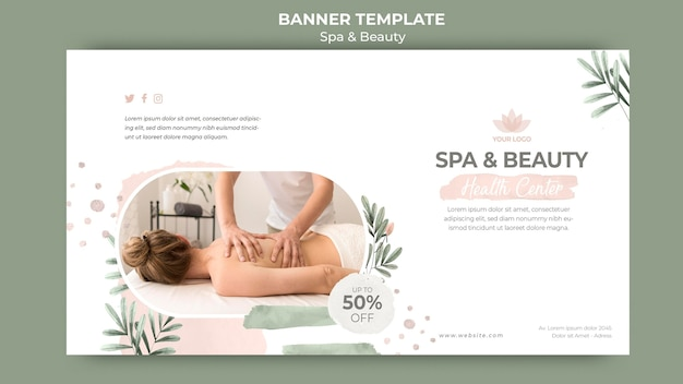 Plantilla de banner horizontal para spa y belleza.