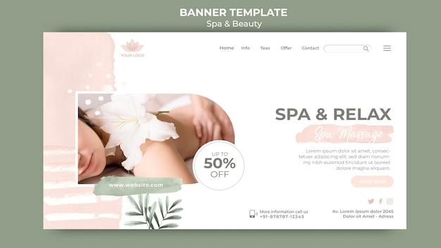 Plantilla de banner horizontal para spa y relajación.