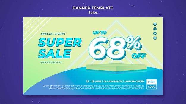 Plantilla de banner horizontal para super venta PSD gratuito