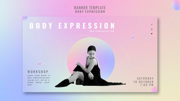 Plantilla de banner horizontal para taller de expresión corporal