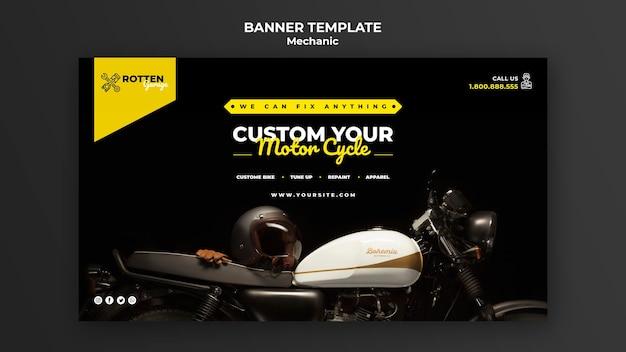 Plantilla de banner horizontal para taller de reparación de motocicletas