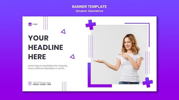 Plantilla de banner horizontal para tema gratuito con geometría dinámica
