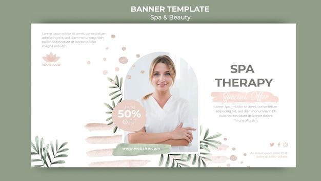 Plantilla de banner horizontal para terapia de spa