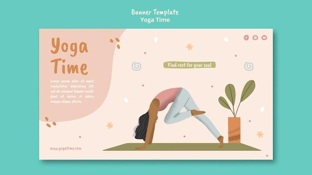 Plantilla de banner horizontal para tiempo de yoga