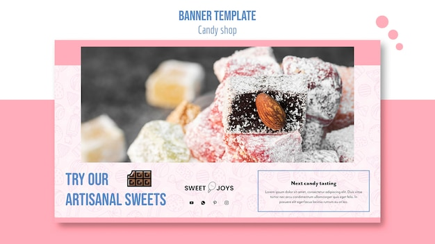 Plantilla de banner horizontal de tienda de dulces