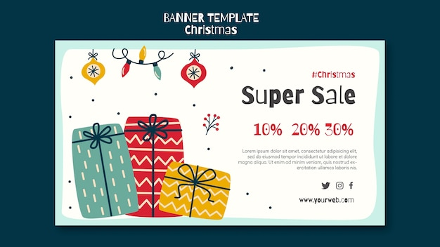 Plantilla de banner horizontal para venta de compras navideñas