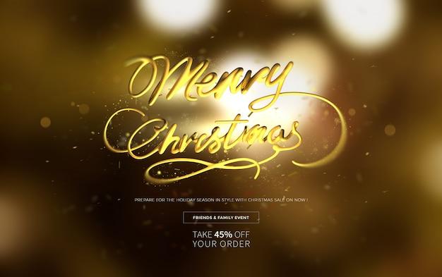 Plantilla de banner horizontal de venta de feliz navidad
