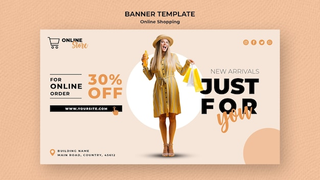 Plantilla de banner horizontal para venta de moda en línea