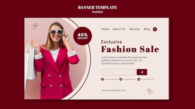 Plantilla de banner horizontal para venta de moda con mujer y bolsas de compras.