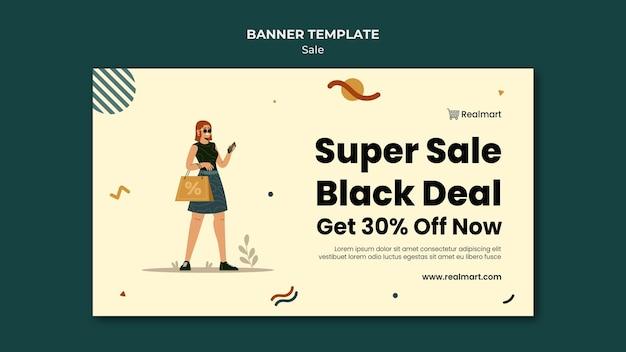 Plantilla de banner horizontal en venta con mujer y bolsas de compras.