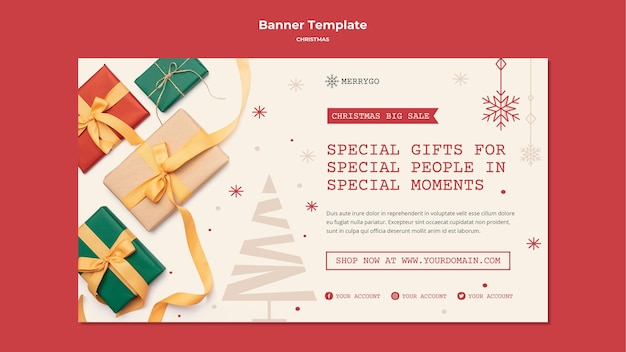 Plantilla de banner horizontal para venta de navidad