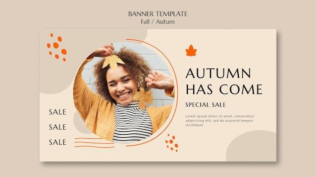 Plantilla de banner horizontal para venta de otoño