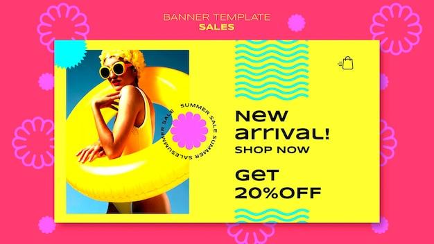 Plantilla de banner horizontal para venta de temporada de verano