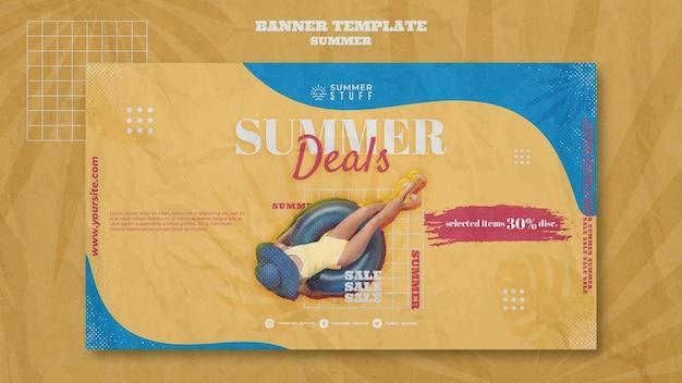 Plantilla de banner horizontal para venta de verano con mujer.