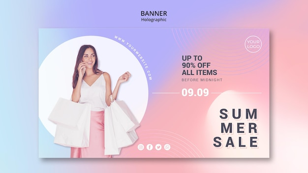 Plantilla de banner horizontal para venta de verano
