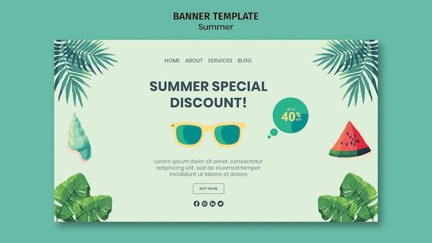 Plantilla de banner horizontal de verano