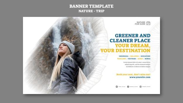 Plantilla de banner horizontal de viaje por la naturaleza