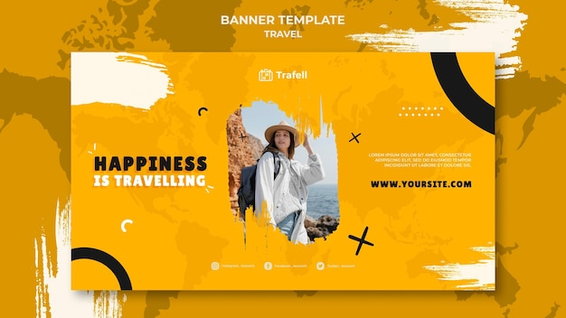 Plantilla de banner horizontal de viaje