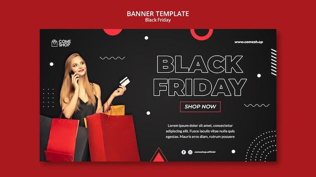 Plantilla de banner horizontal de viernes negro oscuro