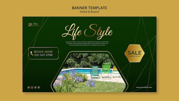 Plantilla de banner para hotel y resort.
