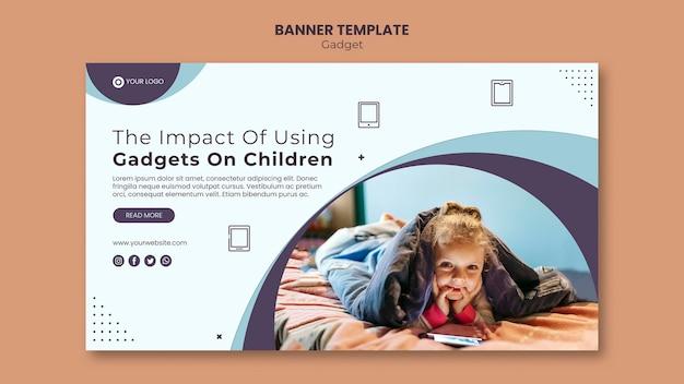 Plantilla de banner de impacto de gadget en niños