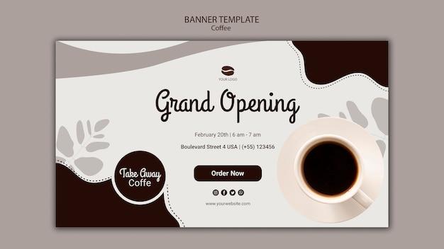 Plantilla de banner de inauguración de cafetería