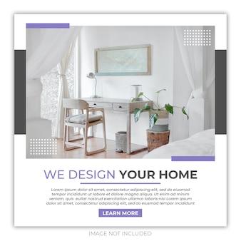 Plantilla de banner de instagram para muebles de interior