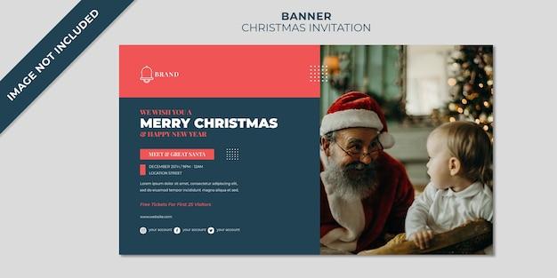 Plantilla de banner de invitación de navidad para conocer y saludar a santa