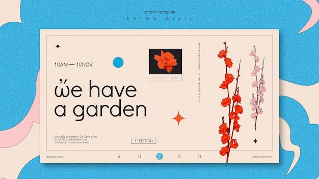 Plantilla de banner para jardín de flores