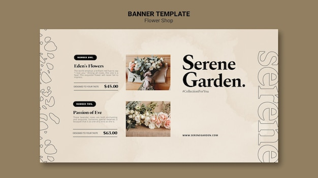 Plantilla de banner de jardín sereno