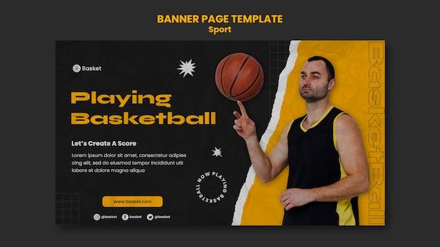 Plantilla de banner para juego de baloncesto con jugador masculino