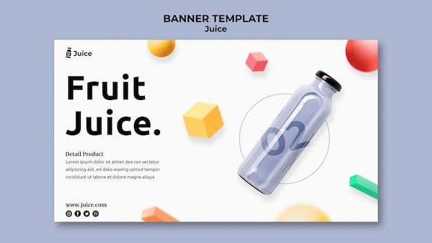 Plantilla de banner para jugo de frutas en botella de vidrio