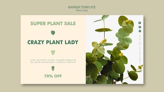 Plantilla de banner de lady planta