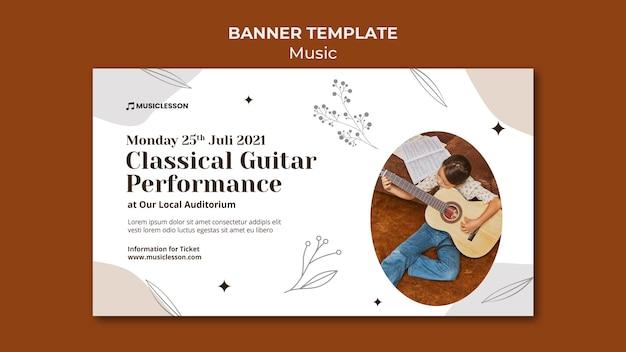 Plantilla de banner de lecciones de guitarra