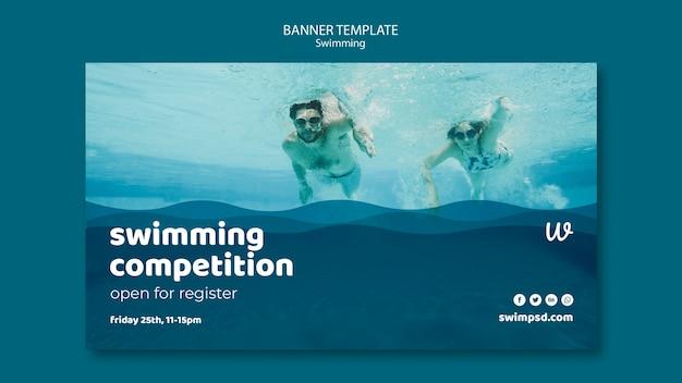 Plantilla de banner de lecciones de natación con foto