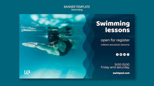 Plantilla de banner de lecciones de natación