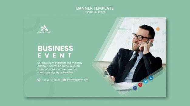Plantilla de banner en línea para conferencias de eventos empresariales