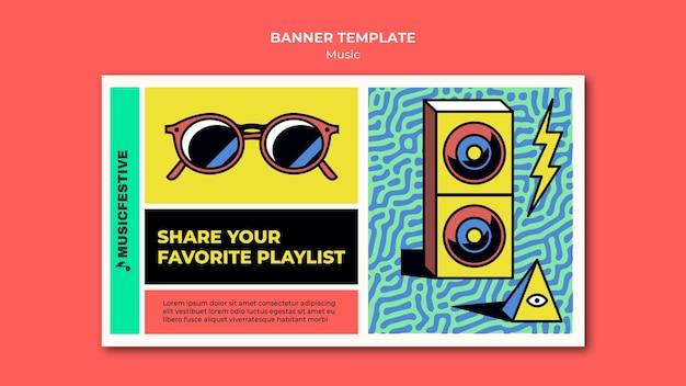 Plantilla de banner de lista de reproducción de música