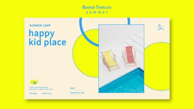 Plantilla de banner de lugar feliz de verano