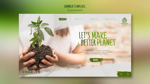 Plantilla de banner con manos sosteniendo la planta en el suelo
