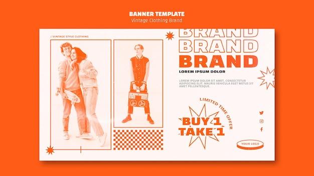 Plantilla de banner de marca de ropa vintage con foto