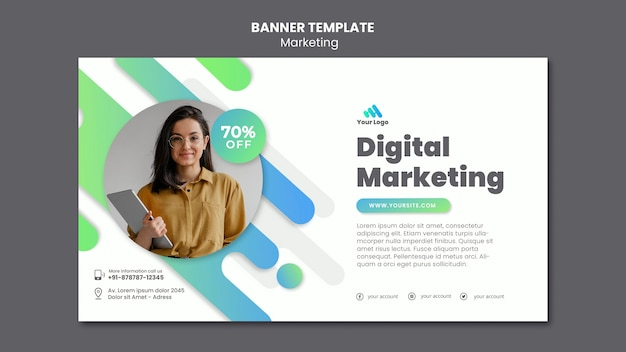 Plantilla de banner de marketing digital