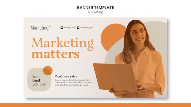 Plantilla de banner de marketing con foto