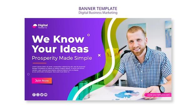 Plantilla de banner de marketing de negocios digitales
