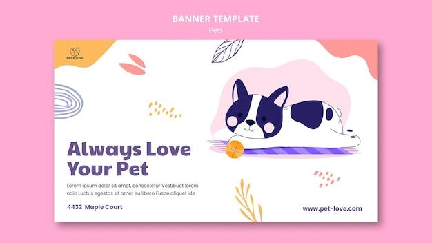 Plantilla de banner de mascota adorable