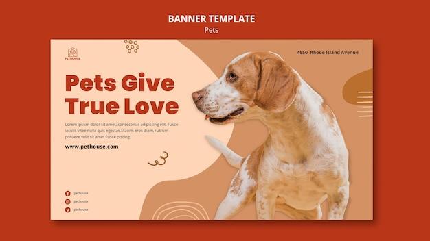Plantilla de banner para mascotas con lindo perro