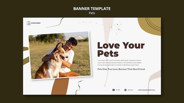 Plantilla de banner de mascotas y propietarios