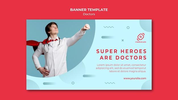 Plantilla de banner de médico y capa de superhéroe